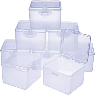 PH PandaHall 8 pcs Clear Plastic Beading Storage Container Box, Rectangle Boxes with Hinged Lid for Beads Jewelry Nail Art...