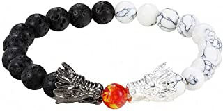 Womens Mens Fashion Black and White Beads Bracelet Natural Stone Black Lava Bead Two Dragon Play One Ball Male Female Jewellery