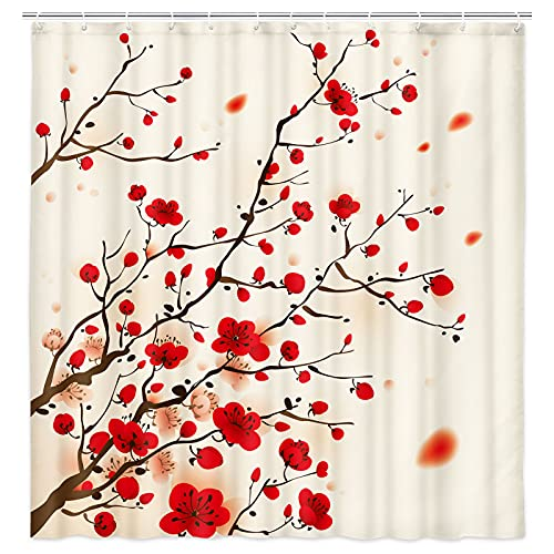 DEECABIN Japanese Cherry Blossom Shower Curtains, Asian Art Sakura Red Floral Bathroom Shower Curtain Set, Traditional Asia Japan Ink Painting Fabric Bathroom Decor with Hooks 72X72IN
