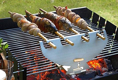 Spiess-Griller Grill-Aufsatz Halterung Edelstahl 4 Buchenholz Grill-Spieße Steckerl-Fisch