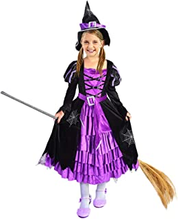 Twister.CK Witch Costume Halloween Party Fancy Dress Up Deluxe Set with Hat Skirt for Girls (T 3-4)