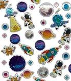 120 Sticker * Weltraum & Space * als Mitgebsel, Geschenk oder zum Basteln   Planeten Aufkleber zum Kindergeburtstag und Mottoparty   Plus Stickerbuch