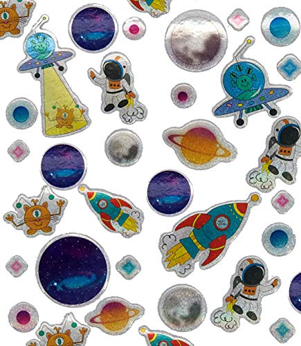 120 Sticker * Weltraum & Space * als Mitgebsel, Geschenk oder zum Basteln | Planeten Aufkleber zum Kindergeburtstag und Mottoparty | Plus Stickerbuch
