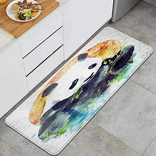 Anti Fatiga Cocina Alfombra del Piso,Panda blanco y negro acuarela comiendo bambú verde en la naranja colorida redonda,Antideslizante Acolchado Puerta Habitación Alfombra Almohadilla,120 x 45cm