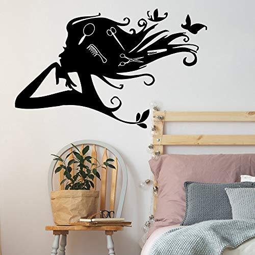 Schmetterling Friseur Wandaufkleber Mädchen Friseur Vinyl Kunst Aufkleber Schere Kamm Wandaufkleber Beauty Salon Zeichen Dekoration Wandaufkleber A4 67x42cm