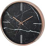Unity Bolton-Reloj de Pared Moderno con Efecto mármol, 38 cm, Negro