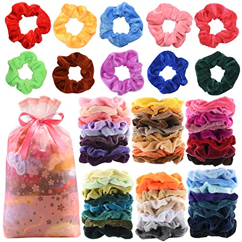60 Pcs Premium Velvet Hair Scrunchies Hair Bands for Women or Girls Hair Accessories,Great Gift for halloween Thanksgiving day and Christmas (Fun Hair Color Ideas For Short Hair)