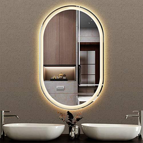 JHNEA Espejo de baño de Maquillaje LED, Espejo de tocador de Pared Regulable Anti-Niebla con luz, Espejo a Prueba de Agua montado en la Pared LED de tocador (Horizontal/VertiCl),No Switch_24x36inch
