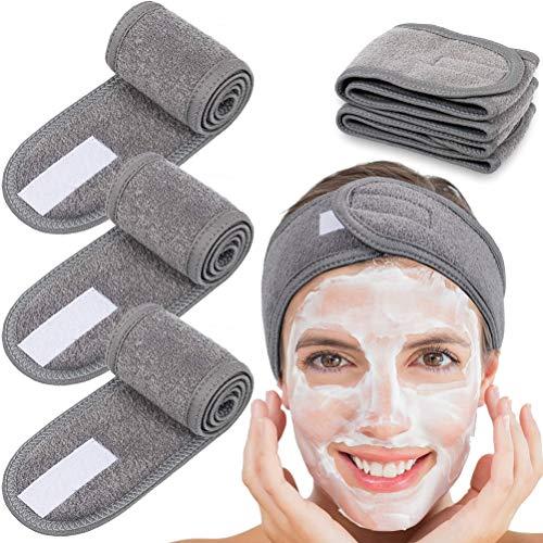 5 diademas faciales para el cabello, para spa, maquillaje, diadema, para spa, diadema elástica con cinta mágica, toalla ajustable, para lavar la cara, baño, maquillaje, ducha, cubierta facial, baño