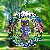 Windspiel, Gartendekoration, Metall, 3D-Skulpturen, Eule, Windspiel, Edelstahl, kinetische Hängedekorationen für drinnen und draußen, Ornamente, Geschenke, Sonnenfänger