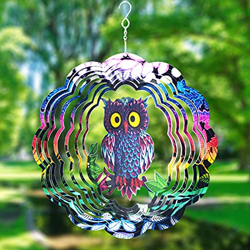 Wind Spinner Yard Art Garden Decor, Owl Wind Spinners Outdoor Metal 3D Kinetic Sculptures Stainless Steel Wind Spinners Outdoor Indoor Outdoor Metal Clearance Ornaments Gifts Unique Spinners for Yard