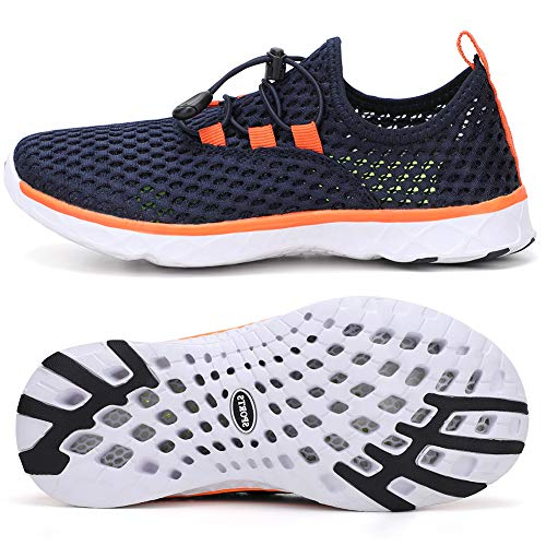 STQ Kids Aqua Water Shoes for Boys Lightweight Quick Dry Outdoor Beach Swim River Shoes Navy/Orange 4 M US Big Kid