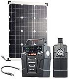 reVolt Stromspeicher: Solar-Generator & Powerbank mit 50-W-Solarzelle & Anschlusskabel, 75Ah (Inselanlage)