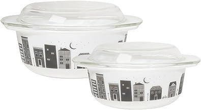 Now Designs Mod Glass Retro Glass Bakeware (Set of 2), Hometown