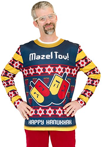 Faux Real Men's 3D Photo-Realistic Ugly Christmas Sweater Long Sleeve T-Shirt, Mazel Tov, X-Large