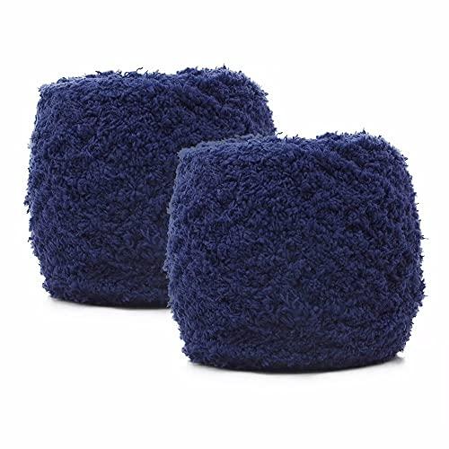 Maxee Weich Babywolle 200g(2*100g), Strickgarn Wolle, Flauschige Soft Plüschwolle, Wolle für Babydecke, Häkelgarn Wolle Zum Stricken & Häkeln(Navy Blau)