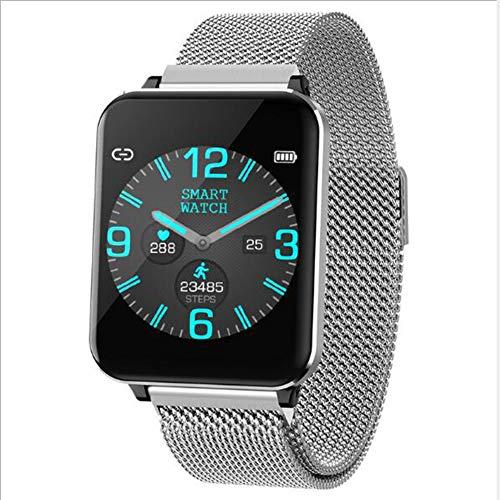 GPS P012 Smartwatch,Seguimiento del SUEÑO Rastreador De Fitness Frecuencia Cardíaca Monitor Reloj De Contador De Pasos para Hombres Mujeres Niños Impermeable Smart Watche Plata 1.3inch