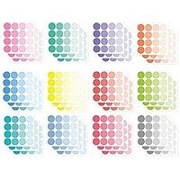 モノライク 単色の円形 ステッカー ソリッド ラウンド ドット スモールサイズ Solid Round Sticker Dot Small Size 12 Set - ダイアリー飾り、様々な色の円形ステッカー