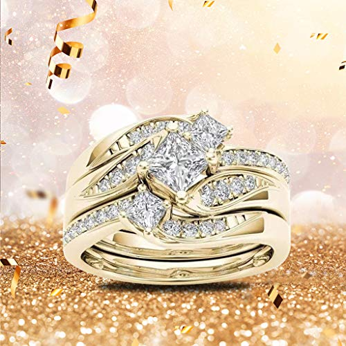 Ring Round Diamond Wedding Band Anniversary Accessory Rings Size 5-11 Crystal Ring Set Carved Rings Trendy Jewelry Accessories for Women and Girls Gold