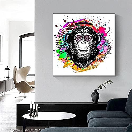 Carteles e impresiones Arte de la pared Gafas divertidas abstractas Mono Póster e impresiones de animales para la sala de estar 50x50cm sin marco
