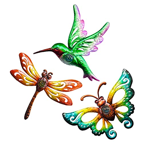 BVLFOOK Hummingbird Butterfly Dragonfly Metal Wall Art Decor, Wall Sculpture Decoration Hanging for Home Living Room Bedroom Garden Porch Patio Balcony Ornament for Indoor Outdoor, 3 pack 9 inch