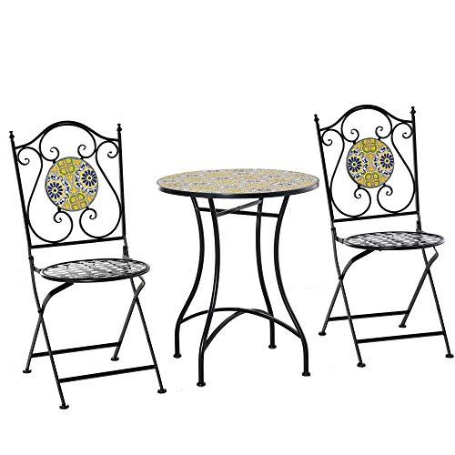 Set Tavolo e 2 Sedie Pieghevoli da Giardino in Metallo con Mosaico Colorato