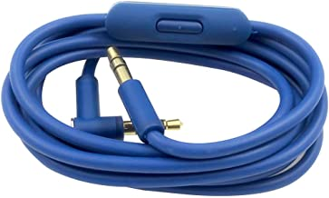 Replacement Audio Aux Cord Extension Cable Wire with Mic Compatible with Beats by Dre Solo 3 2 / HD/Studio 3 2 /Pro/Detox/Wireless/Mixr/Headphones (Blue with Mic)