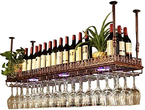 YLongFEI Wijnrek Opbergrek Eenvoudige Stijl Ondersteboven met LED Licht IJzer Opknoping Wijnglas Rek Plafond Decoratie Plank voor Bars, Restaurants,Keukens
