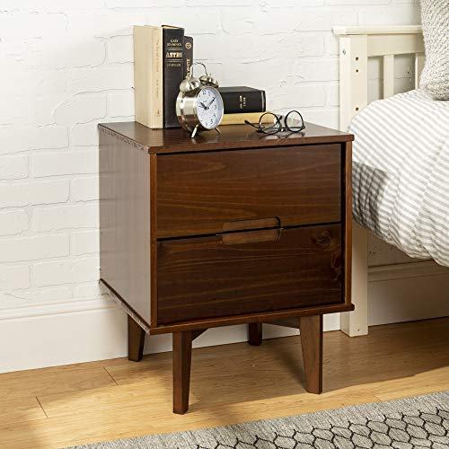 Walker Edison Furniture Company Mid Century Modern Grooved Handle Wood Nightstand Side Bedroom Storage Drawer Bedside End Table, 2, Walnut Brown