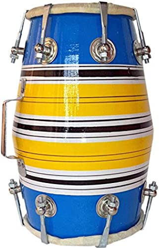 GT Manufacturers Wooden Musical Instrument Baby Dholak Drum Nuts Bolt Design02 Blue