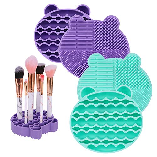 2 en 1 Outil de Nettoyage Maquillage Brosse 2 Pièces Portable Supports de Rangement pour Pinceaux Tapis de nettoyage pour nettoyer et sécher à l'air libre les pinceaux de maquillage (Violet et Vert)