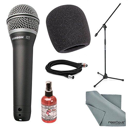 Microfone portátil Samson Q7 Supercardioide Neodímio Deluxe Bundle com suporte ultraleve + protetor de microfone + cabo XLR + higienizador de microfone + pano de limpeza de fibra