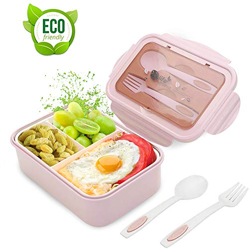 LAKIND O-Kinee Lunch Box, Porta Pranzo, 1400ml Kids Bento Box con 3 Scomparti e Posate(Forchetta e Cucchiaio), Lavastoviglie/Approvato dalla FDA/Senza BPA (Ros2)