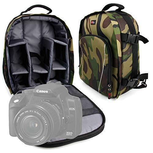 DURAGADGET Mochila Camuflaje con Compartimentos Desmontables para Cámara Canon EOS 350D /...