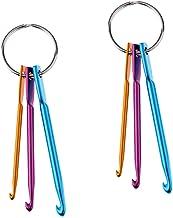 2-delige set van aluminium haken gehaakte haken gekleurde haken naalden met metalen sleutelhanger voor weven ambacht