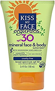Kiss My Face Body & Face Mineral SPF 30 Natural Organic Sunscreen, 3.4 Ounce