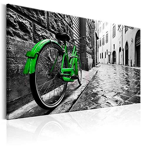Pintura de la lona Arte de la pared Color brillante Bicicleta rota verde sobre fondo gris de la calle Imágenes Decoración de la oficina en el hogar Impresiones 24