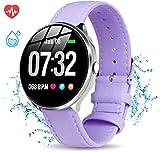 Smartwatch Mujer Impermeable Reloj Inteligente Elegante Pulsera Actividad Monitores de Actividad con Monitor de Sueño Pulsómetros Podómetro Notificación de Mensaje Compatible con iOS Android Púrpura