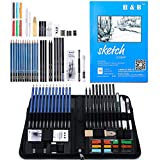 H&B Drawing and Sketching Pencils Set, 48 Piece Sketch Pencils kit with Carrying Case, Pro Graphite Pencils with Sketchbook, Charcoal Pencils, and Eraser, Ideal for Artist Adults Kids Teens Beginners