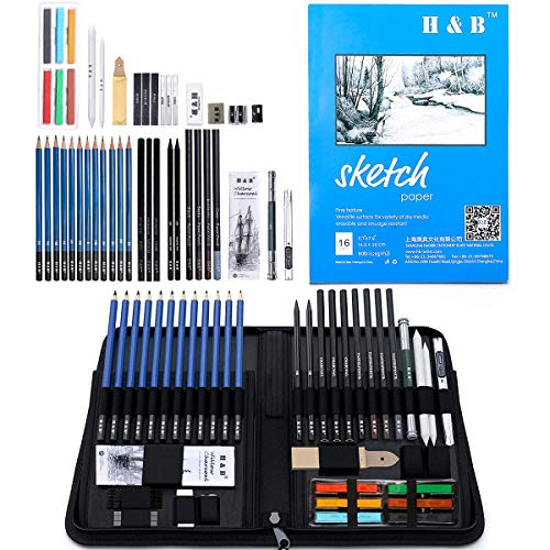 Drawing Pencils Kit, 48pcs Artists Sketching Pencil Set for Adults Kids Teens Beginner | H & B Art Supplies | Art Kit Include Charcoal, Pastels Pencils & Sticks,Sketchbook with Case丨Drawing Supplies