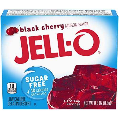 Jell-O Black Cherry Sugar-Free Gelatin Mix (0.3 oz Boxes, Pack of 6)