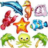 LINDOO 9 Pcs Large Ocean Animals Balloons Cartoon Fish Balloons Foil Balloons for Kids Birthday Party Decoration Supplies