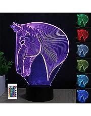 3D głowa konia lampa iluzja, lampka nocna 3D dla chłopców dziewcząt lampa biurkowa 7 zmieniających się kolorów dekoracja domu akrylowe LED sztuka rzeźba światła z pilotem - idealne prezenty na urodziny festiwal