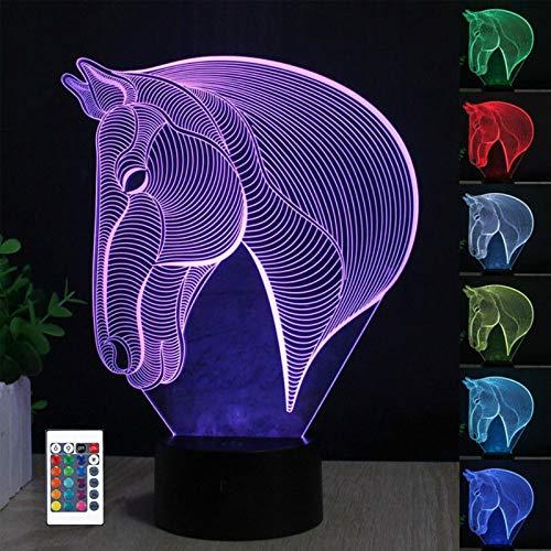 Lámpara de ilusión óptica 3D Lámpara de noche LED, lámpara de mesa de escritorio de 7 colores Luces de escultura de arte LED para niños con cable USB y control remoto - Regalos perfectos (caballo)