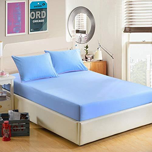 YFGY Sábana Bajera Ajustable para colchones Altos,Sábana Ajustable Funda de colchón Color sólido, Sábanas con sábana elástica Azul Doble 150 * 200cm
