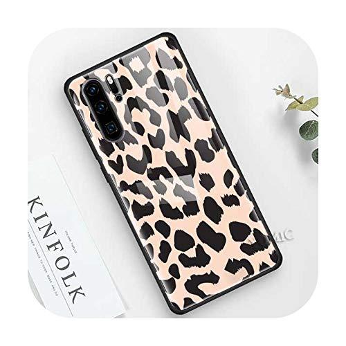 Phonecase Leopard Series - Funda para Huawei P30 P10 P20 Mate 10 20 X 30 Lite Nova 5I Pro de cristal templado de borde suave negro T09 para Huawei P10 Lite