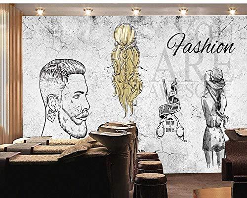 YIERLIFE 3D Pared de Fondo de TV Mural De Pared - Dibujado a mano minimalista gris peluquería retro - Papel Tapiz Fotomural 3D Fondo De Autoadhesivo Moderna Murales Fotográfico Póster Salón Cuarto De