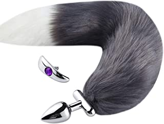a-YUEYUE Thick Faux Fox Tail Stainless Steel Fun Plug with Jeweled Romance Cosplay Party Toy, 8 Colors Optional