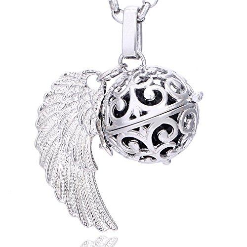 Morella Damen Schutzengel Halskette Edelstahl 70 cm mit Anhänger Engelsflügel und Klangkugel Zirkonia schwarz Ø 16 mm in Schmuckbeutel