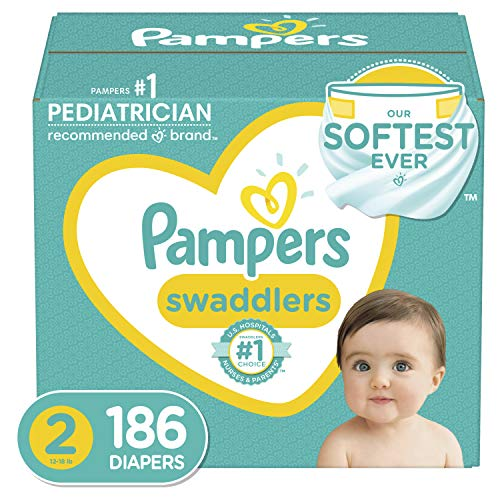 Pampers Swaddlers Disposable Diapers Size 2, 186 Count, ONE MONTH SUPPLY (Packaging...